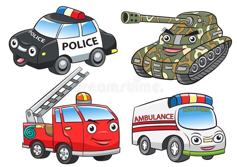 A polícia ateia fogo a desenhos animados do tanque da ambulância ilustração do vetor