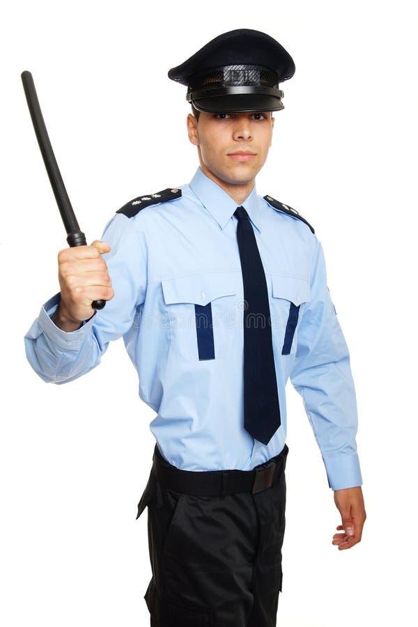 Polícia com cassetete fotografia de stock