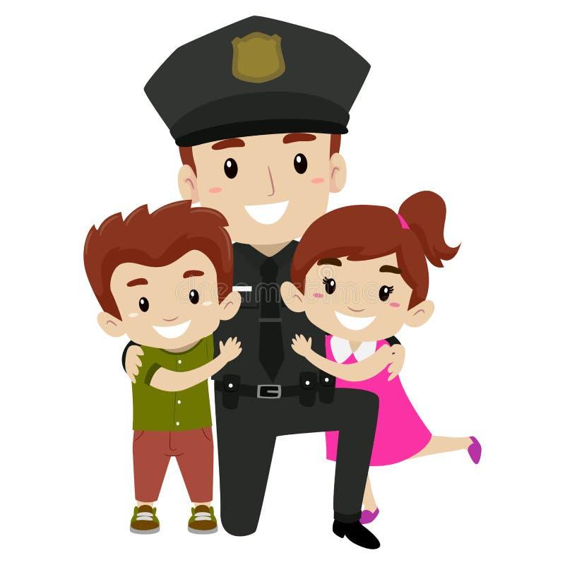 Polícia com crianças ilustração do vetor