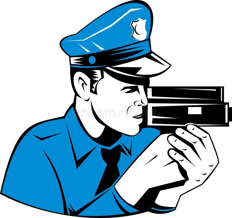 Polícia com o injetor de câmera da velocidade ilustração royalty free