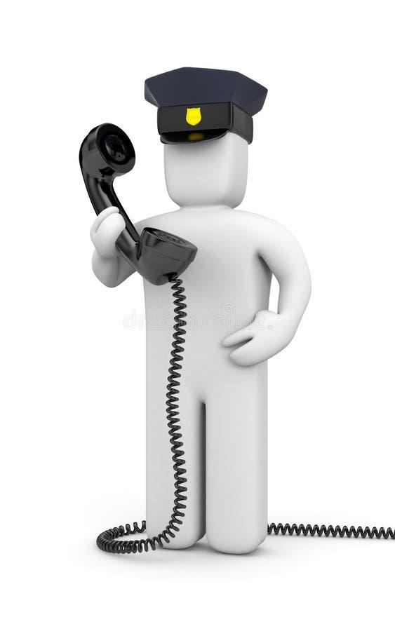Polícia com telefone ilustração do vetor
