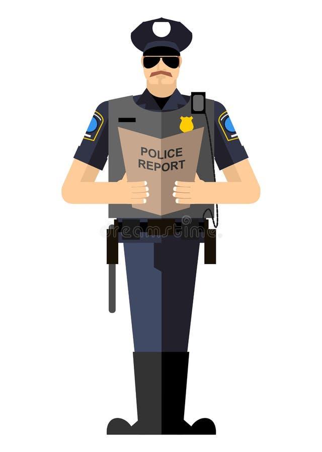Polícia com um relatório de uma aclamação de pé ilustração do vetor