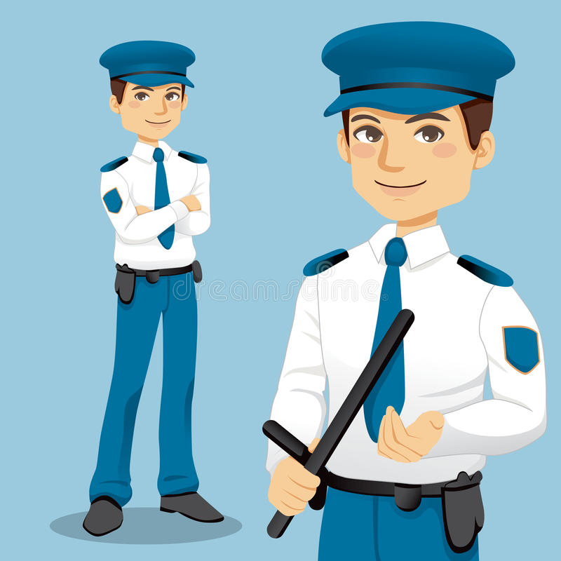 A polícia considerável equipa ilustração royalty free
