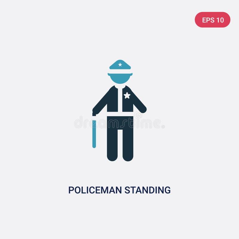 Polícia de duas cores que levanta-se o ícone do vetor do conceito dos povos o polícia azul isolado que levanta-se o símbolo do si ilustração do vetor