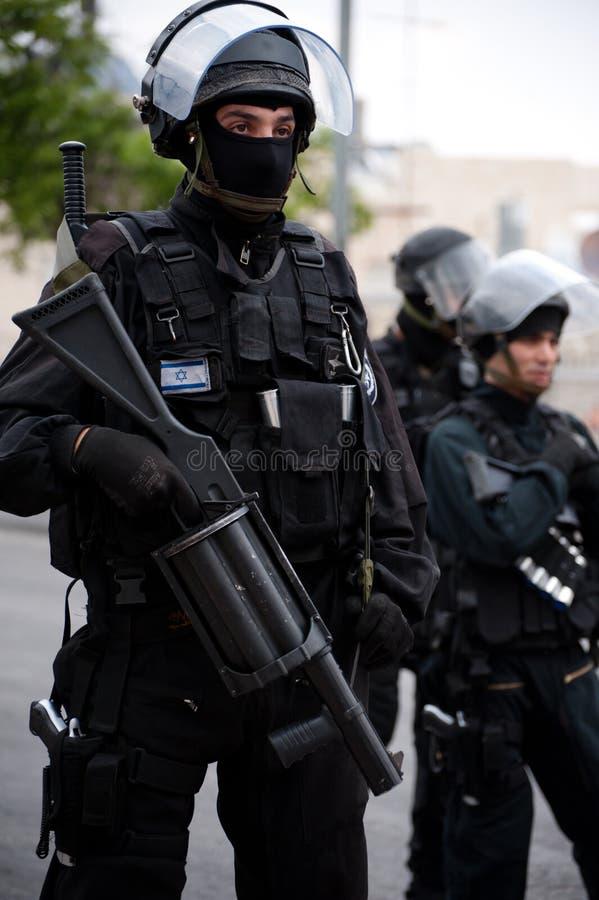 Polícia de motim israelita imagem de stock
