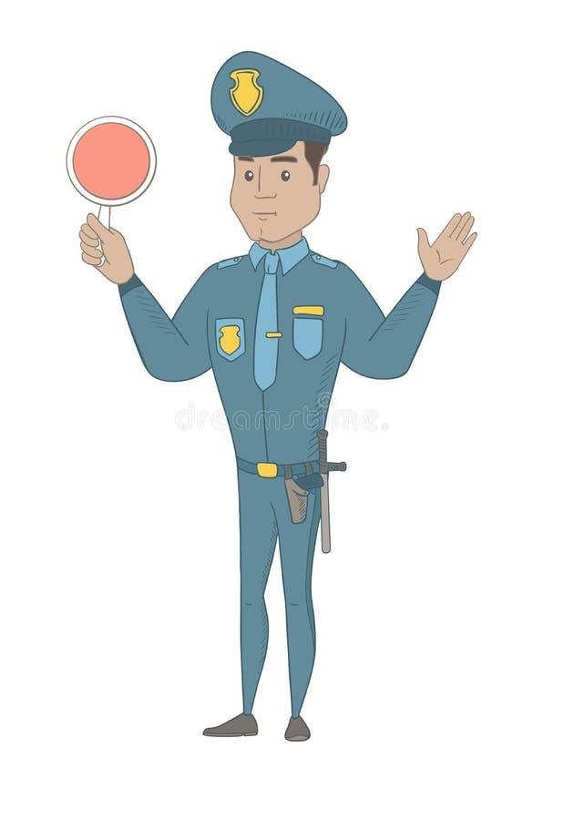 Polícia de tráfego latino-americano que guarda o sinal de tráfego ilustração royalty free
