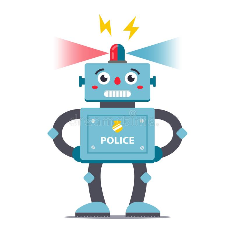 Polícia do robô em um fundo branco no crescimento completo Vetor brinquedos do caráter das crianças fotos de stock