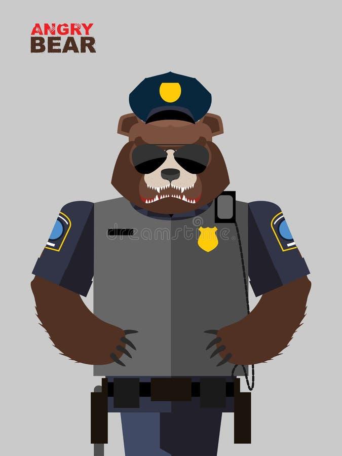 Polícia do urso Animais irritados Ilustração do vetor ilustração stock