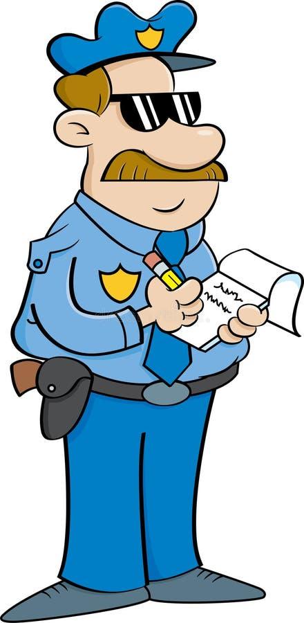 Polícia dos desenhos animados que escreve um bilhete ilustração stock
