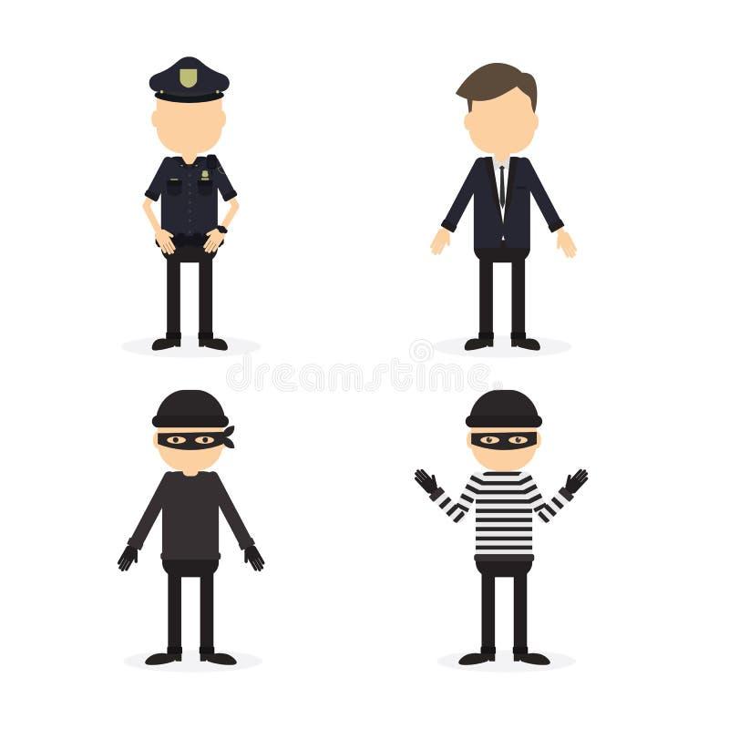 Polícia e grupo do crime ilustração royalty free