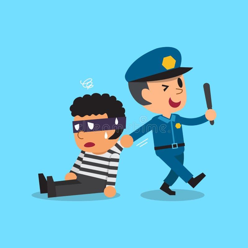 Polícia e ladrão dos desenhos animados ilustração stock
