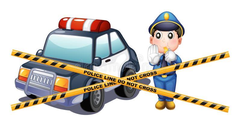 A polícia equipa e carro na cena do crime ilustração stock
