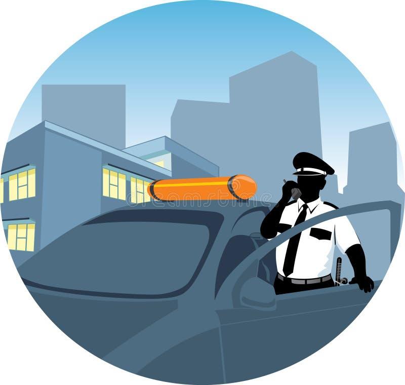 A polícia equipa a fala pelo rádio ilustração do vetor