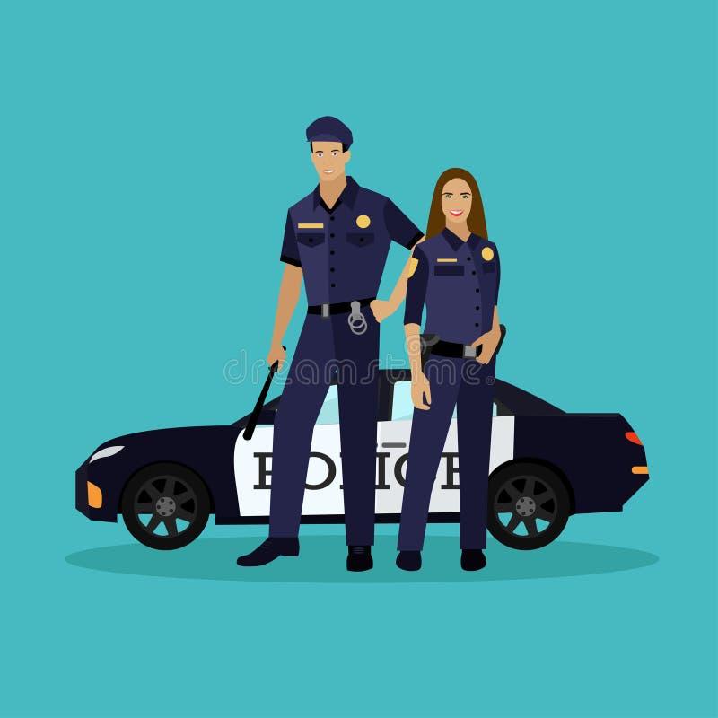 A polícia equipam e a estada da mulher ao lado do carro Ilustração do vetor do conceito no estilo liso Uniforme do oficial ilustração royalty free