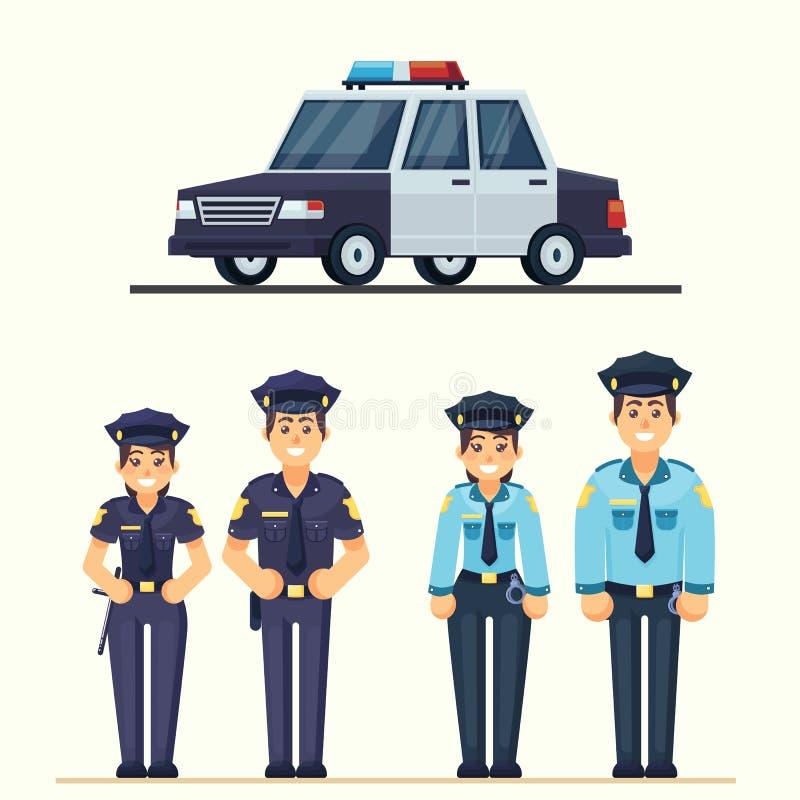A polícia feliz bonito equipam e os agentes da mulher que trabalham no oficial uniforme do vetor com o carro no estilo liso ilustração stock