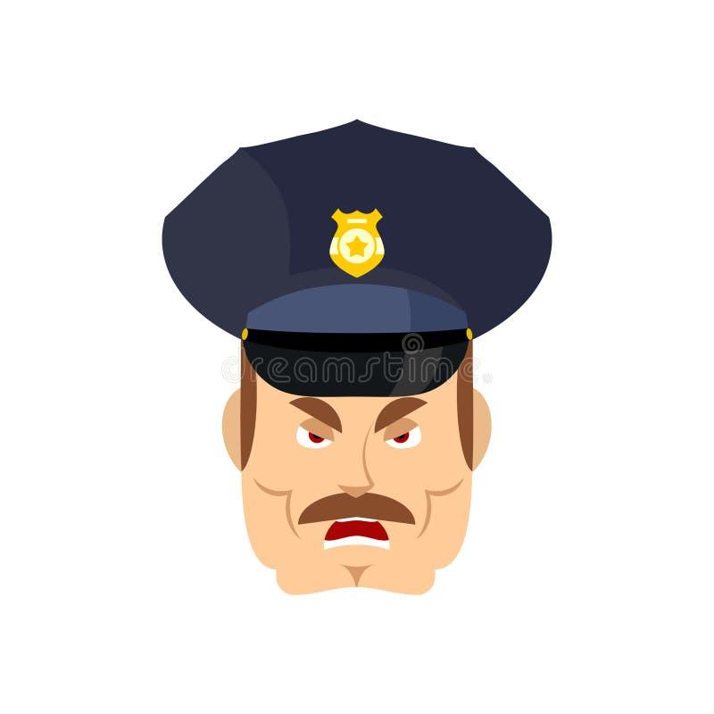 Polícia irritado bobina wrathful Polícia agressiva do oficial ilustração royalty free