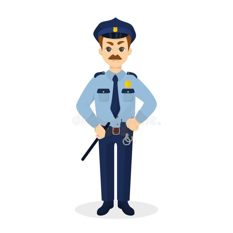 Polícia irritado isolado ilustração do vetor