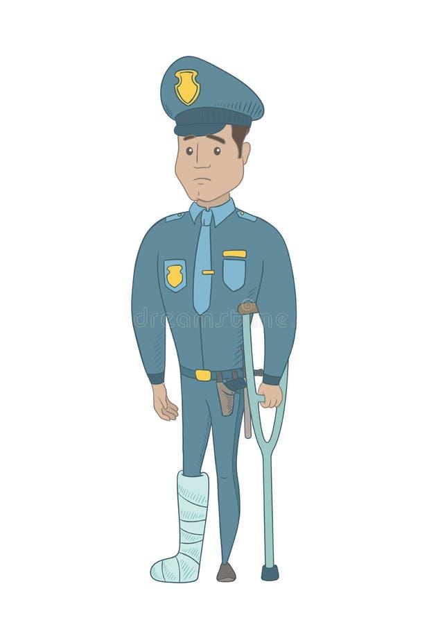 Polícia latino-americano novo ferido com pé quebrado ilustração royalty free
