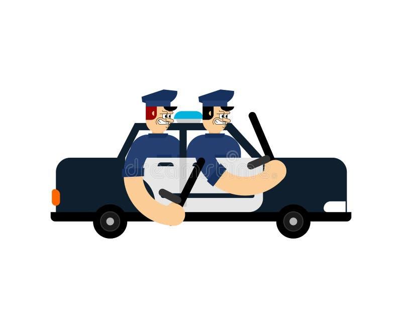 Polícia mau no carro Patrulhas da estrada da bobina ilustração stock
