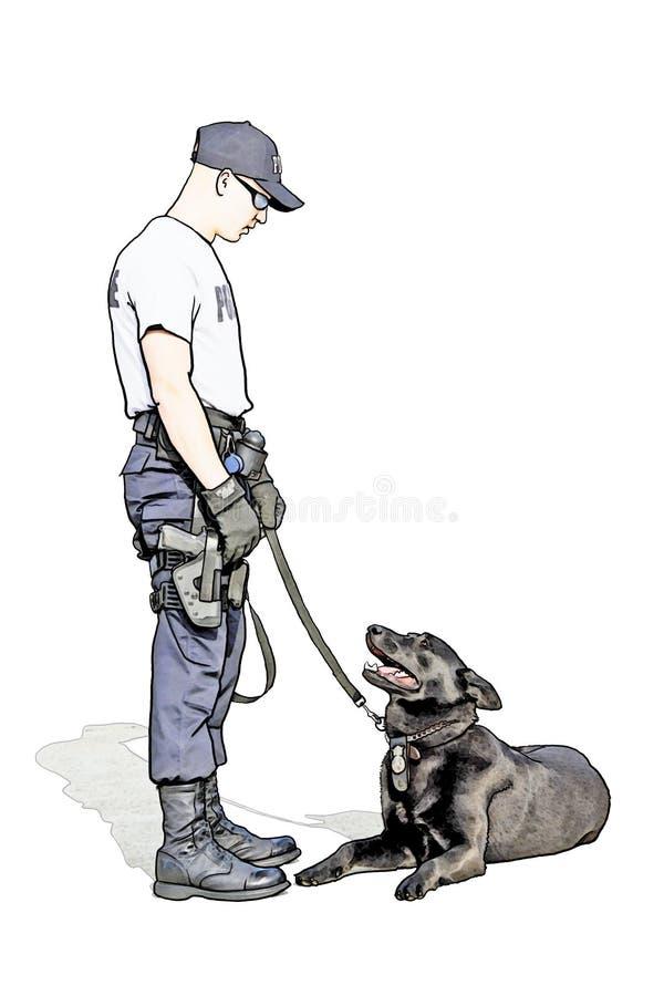 Polícia militar com laboratório ilustração royalty free