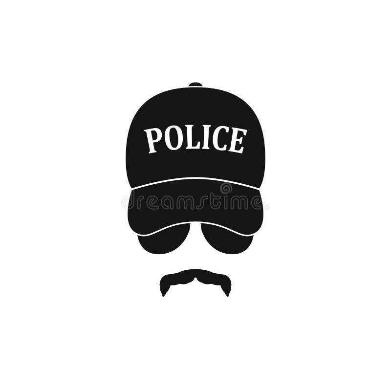 Polícia no boné de beisebol e nos óculos de sol ilustração royalty free