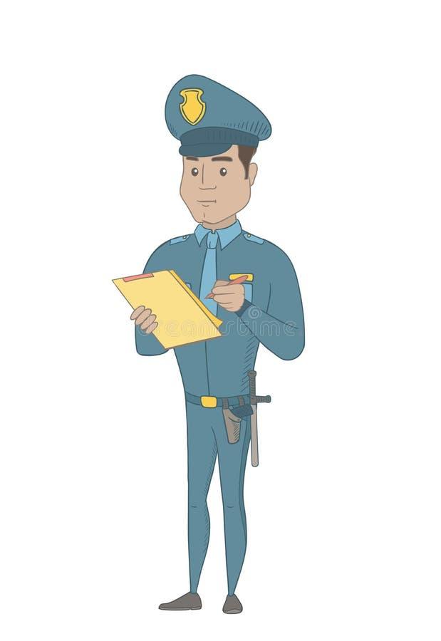Polícia novo na escrita uniforme na prancheta ilustração do vetor