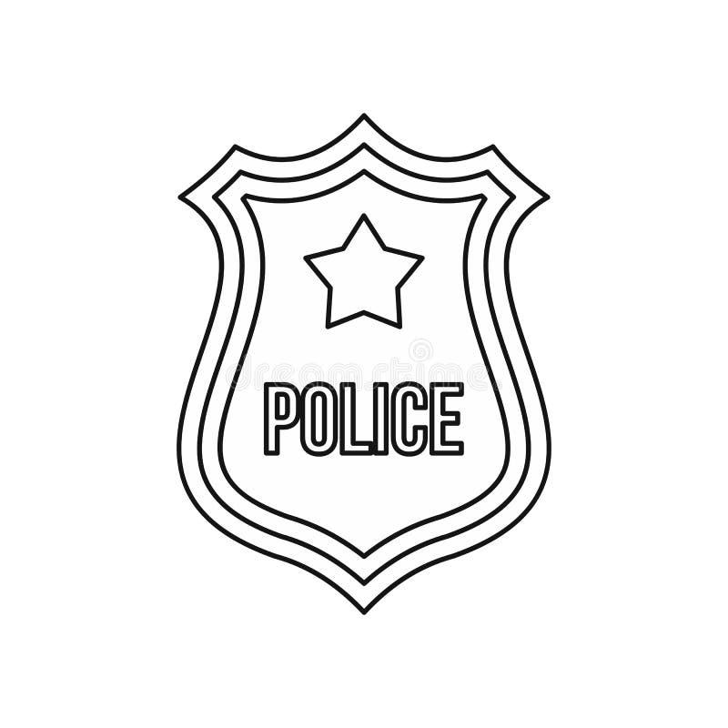 A polícia protege o ícone do crachá, estilo do esboço ilustração royalty free