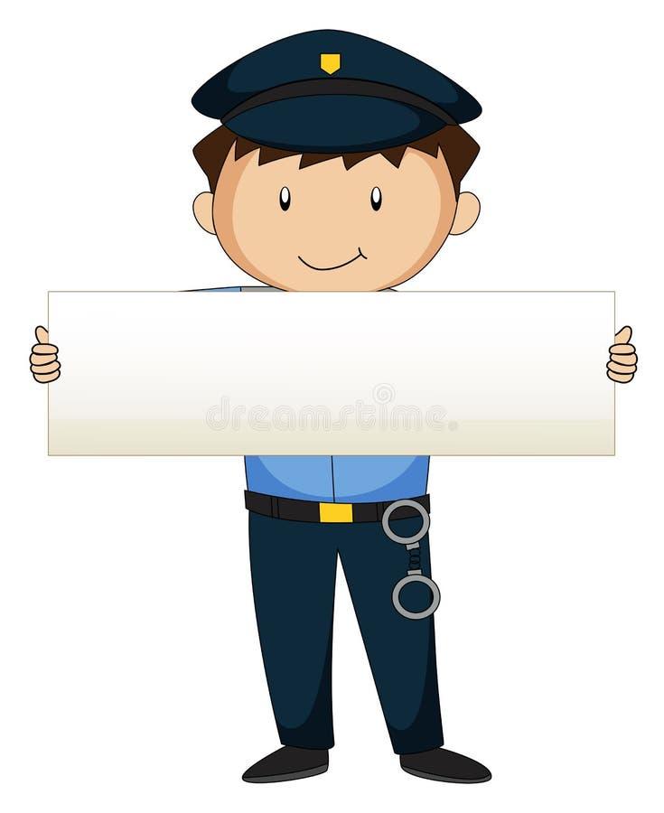 Polícia que guarda o papel vazio ilustração do vetor