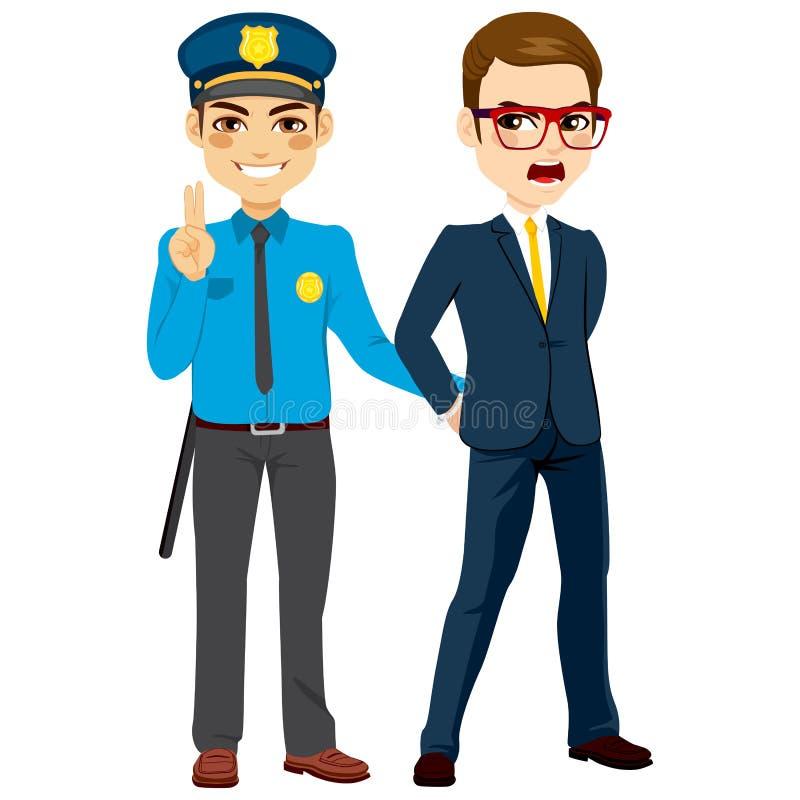 Polícia que prende o homem de negócios criminoso ilustração stock