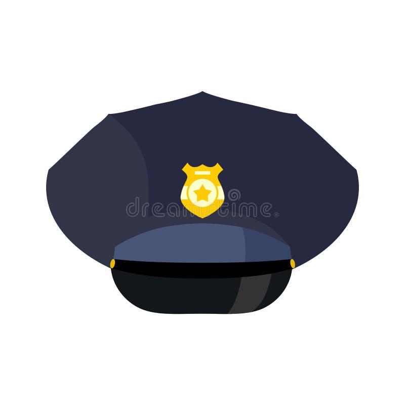 A polícia tampa isolado Oficial da bobina do chapéu Polícia acessório ilustração stock