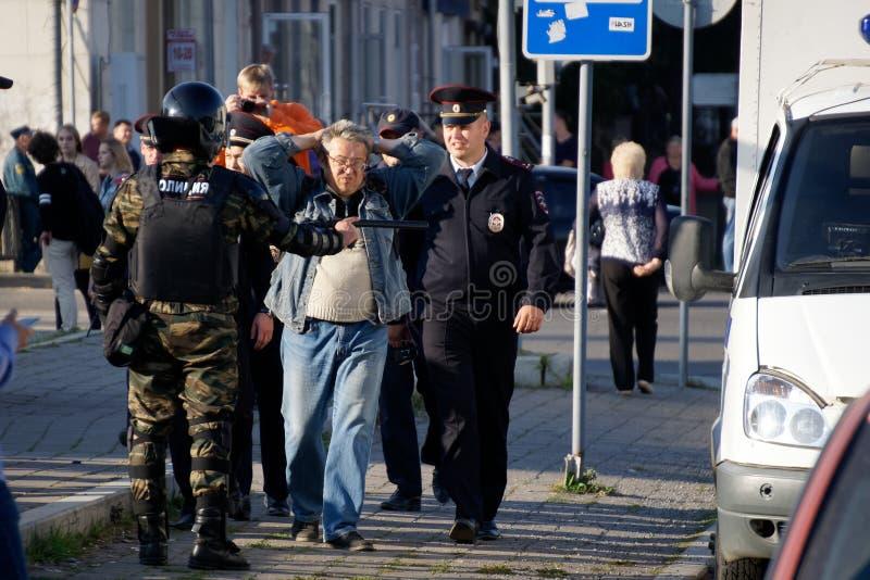 A polícia trabalha em Rússia Protestar, fotos de stock