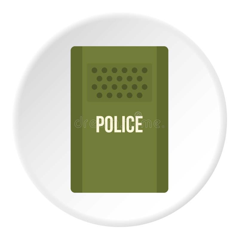 A polícia verde tumultua o círculo do ícone do protetor ilustração royalty free