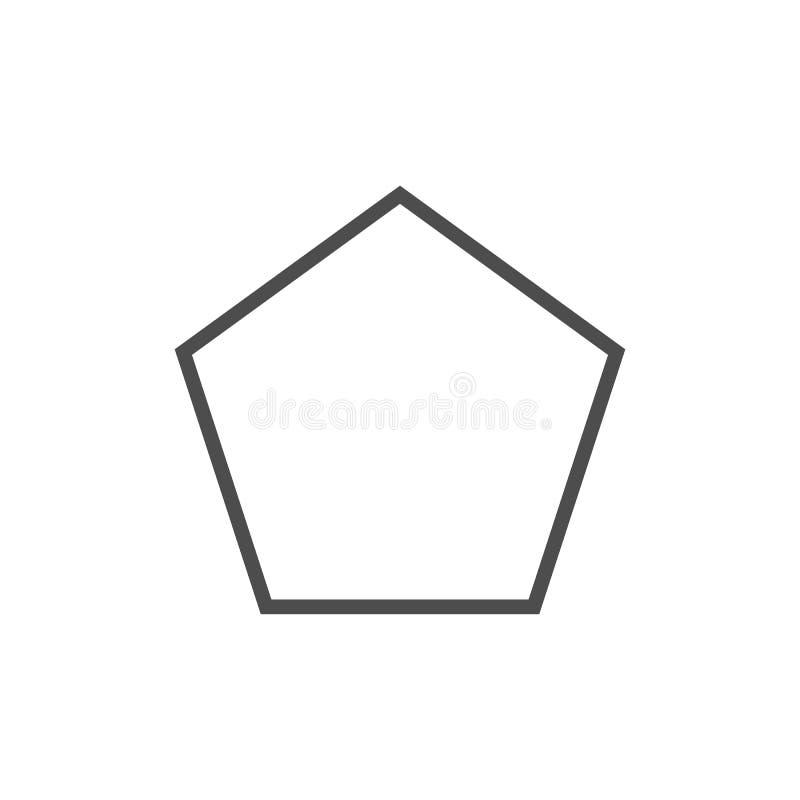 Polígono, ícone da forma do pentagon Ilustração do vetor, projeto liso ilustração do vetor