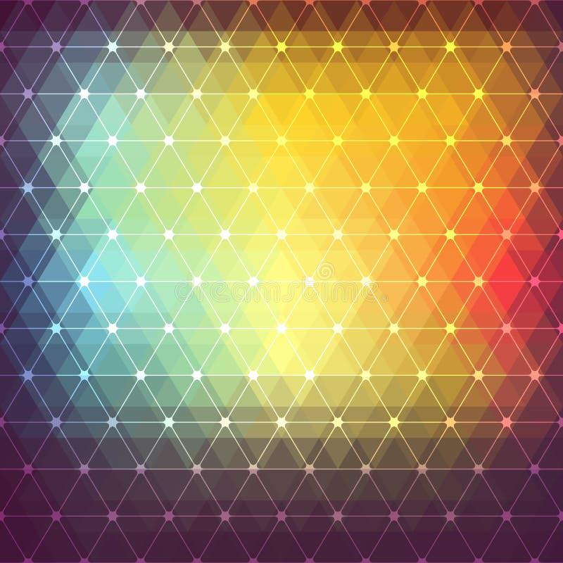 Polígono abstracto colorido Fondo retro stock de ilustración
