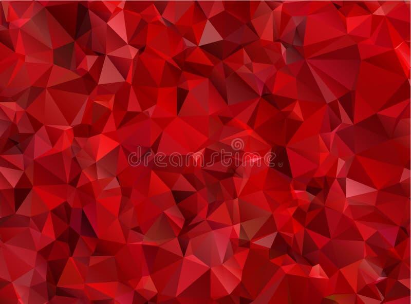 Polígono abstracto rojo del fondo del granate stock de ilustración