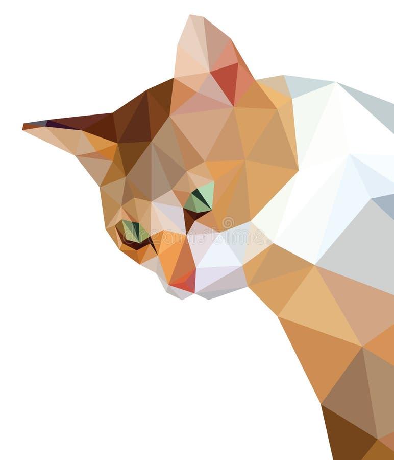 Polígono bajo del gato anaranjado ilustración del vector