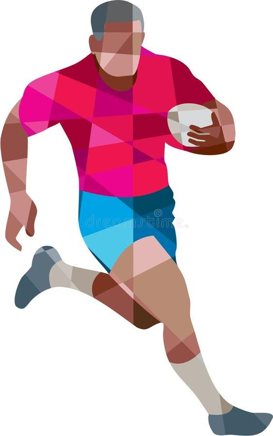 Polígono bajo 'running side' del jugador del rugbi ilustración del vector