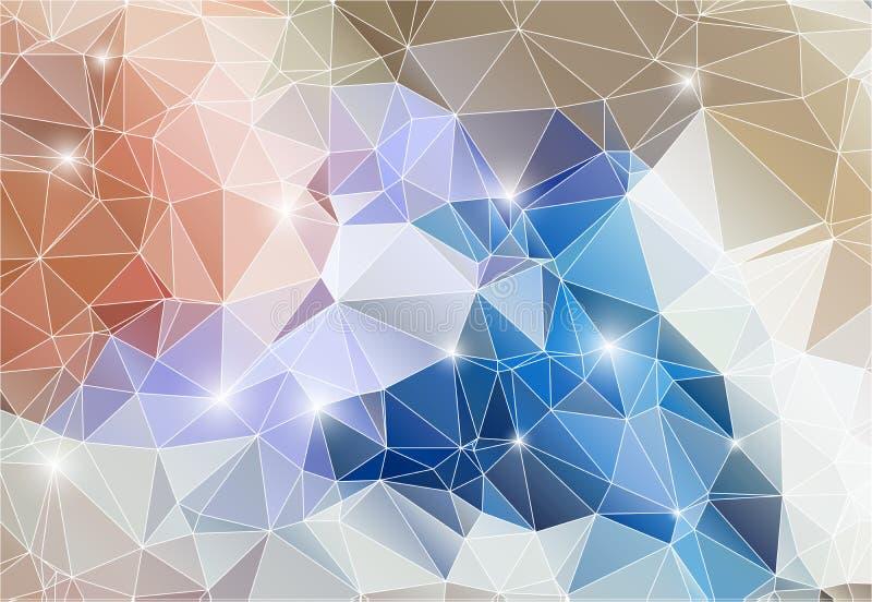 Polígono brilhante do fundo abstrato colorido ilustração royalty free