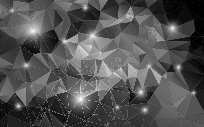 Polígono brillante del fondo abstracto blanco y negro stock de ilustración