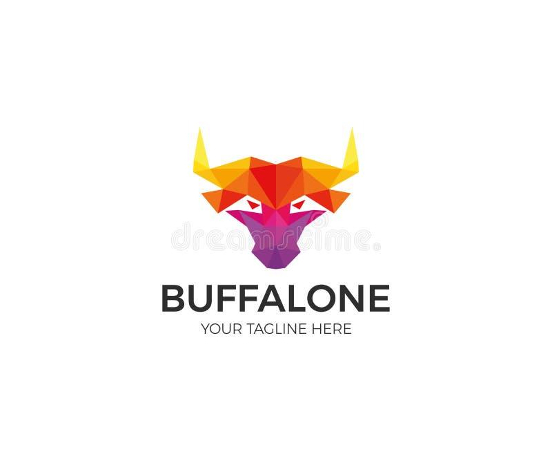 Polígono colorido Logo Template do búfalo Projeto moderno do vetor de Bull da cabeça ilustração stock