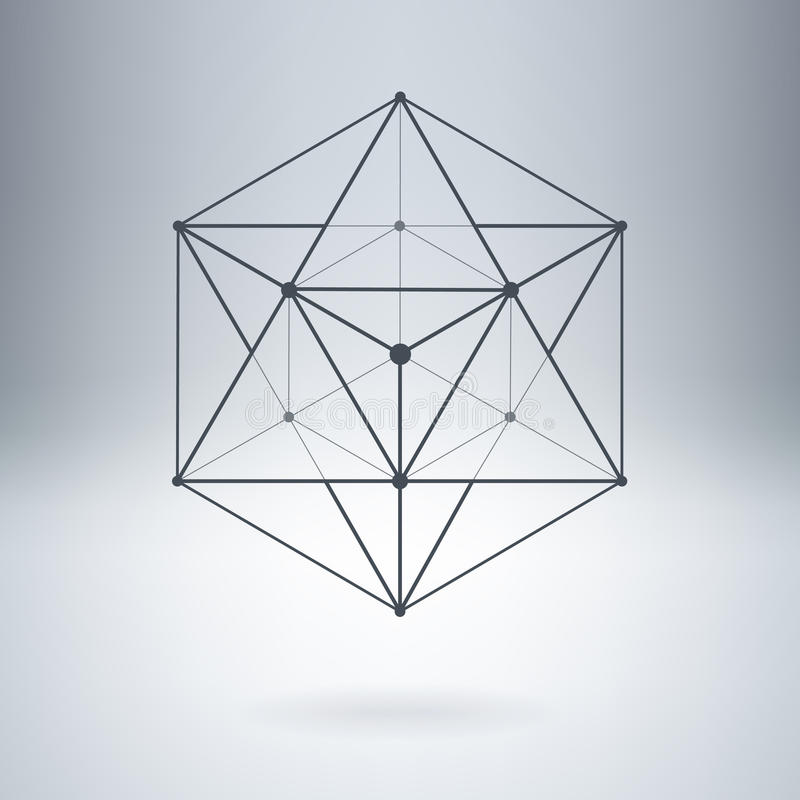 Polígono con las líneas y los puntos conectados ilustración del vector