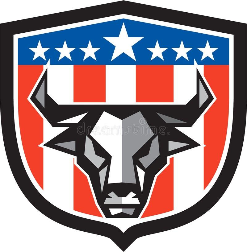Polígono da crista da bandeira dos EUA da cabeça da vaca de Bull baixo ilustração stock