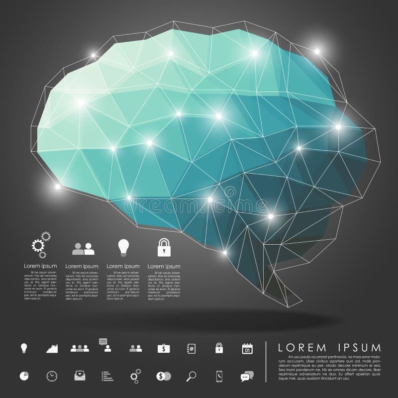Polígono do cérebro com ícone do negócio ilustração royalty free