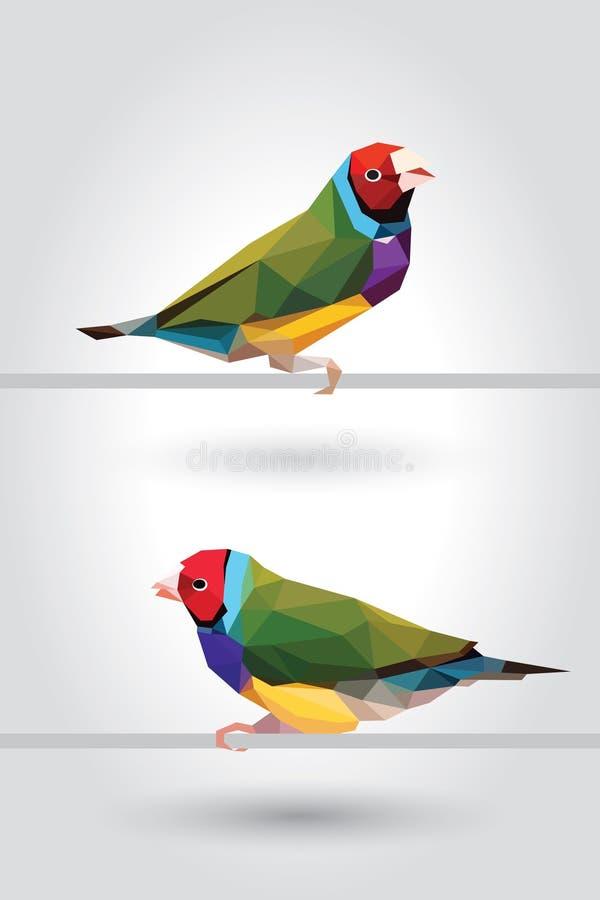 Polígono do pássaro do passarinho de dois arcos-íris baixo isolado no fundo cinzento, ícone geométrico moderno do animal de estim ilustração do vetor