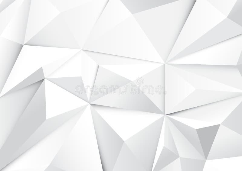 Polígono do tom e fundo brancos geométricos abstratos dos triângulos ilustração stock