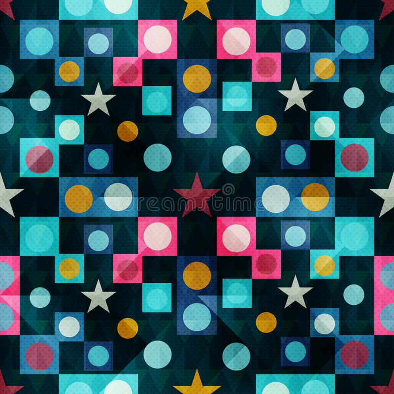Polígono, estrelas e círculos em um teste padrão geométrico sem emenda do fundo escuro ilustração do vetor