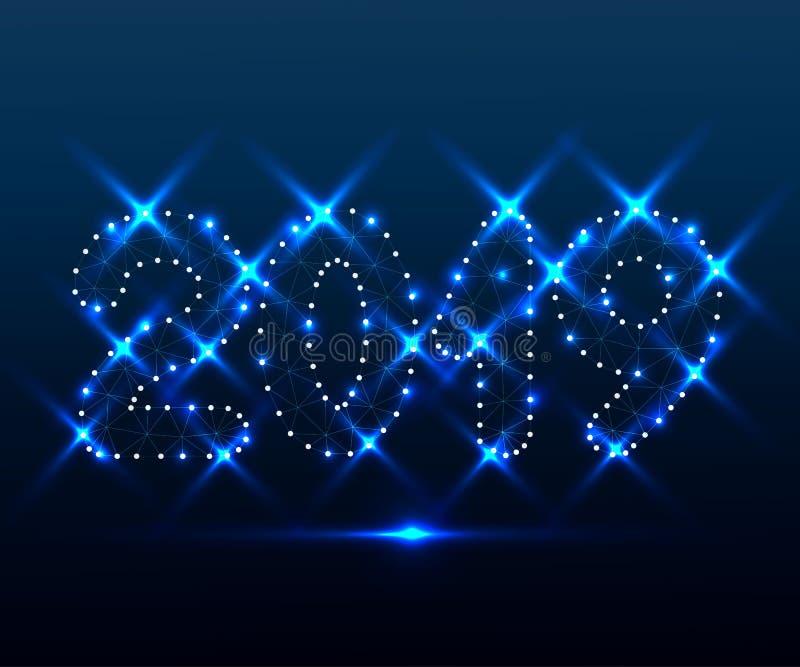 2019 polígono, estrellas azules 4 stock de ilustración