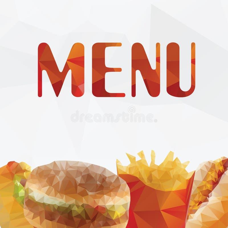 Polígono geométrico do fast food - vetor ilustração stock