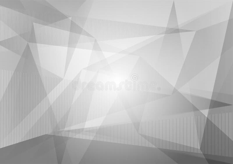 Polígono gris y blanco y fondo abstracto geométrico, ejemplo del vector con el espacio de la copia, diseño gráfico stock de ilustración