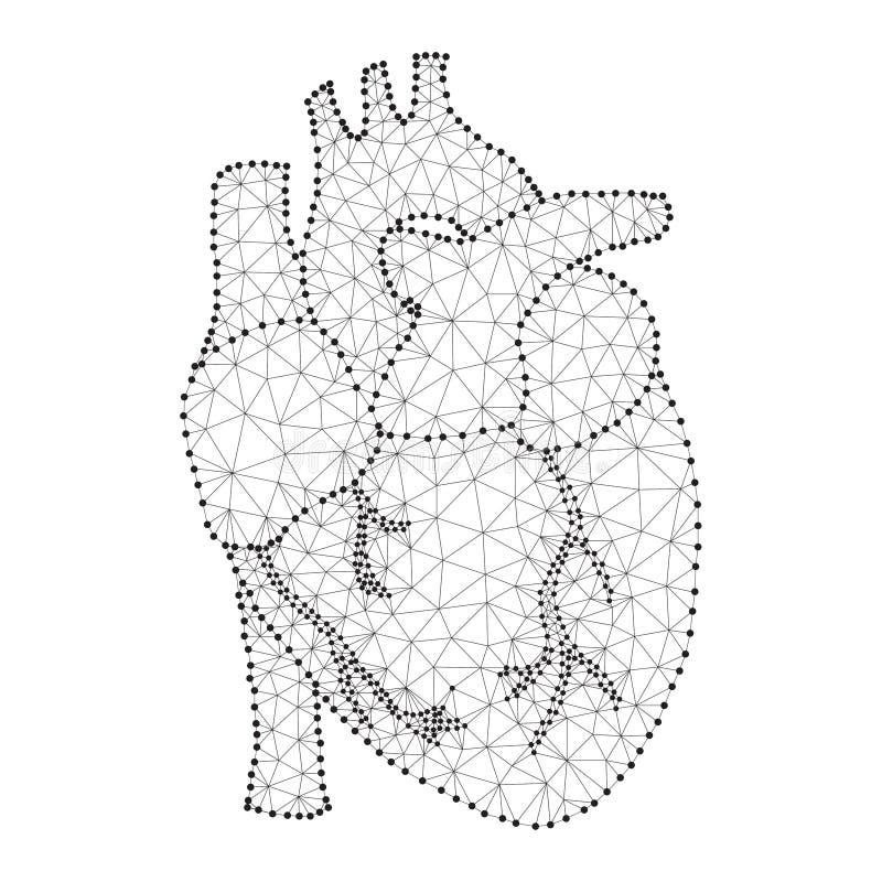 Polígono humano do coração preto-branco ilustração stock